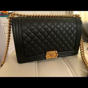 Chanel Boy NewMed W/ BLK Cav Gld HW - Not For Sale
